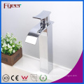 Fyeer Crooked Spout Square High Body Waterfall Wash Basin Faucet Simple Water Mixer Tap