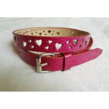 New arrival heart cut Fashion glitter pu belt for garments