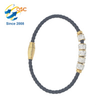Engraved Bangle Simple Design With Plated Gold Stainless Steel Bracelet