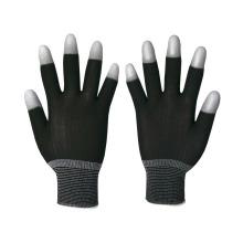 Luvas de segurança de malha de nylon de 13 gauge revestidas com PU no dedo superior