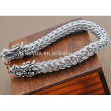 Chinese antique chunky dragon 925 pulseira de prata esterlina