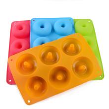 Customized 6 cavity silicone doughnut baking pan/non-stick donut silicone mold silicone cake mold