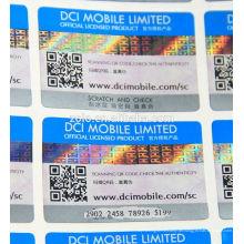 Benutzerdefinierte einmalige Verwendung Gold Splitter Champagner Dom Perignon 3d Hologramm Anti gegen Fälschung QR Code Security Label