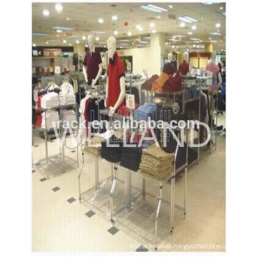Adjustable Metal Clothes Cloth Display Rack Shelf for Supermarket/Shop