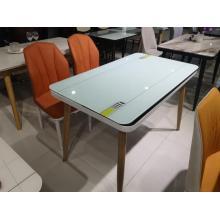 Mesa de comedor con patas de acero inoxidable de diseño europeo