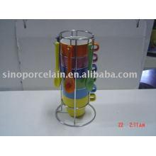 Taza de cerámica con cuchara y plata estante de metal para BS09003