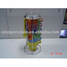 ceramic mug with spoon and silver metal shelf for BS09003