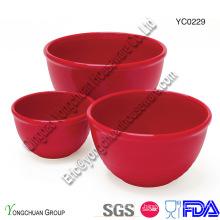 Set de cuvette en céramique rouge-portion-bol de mesure