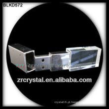 3D laser cristal usb flash drive com luz colorida