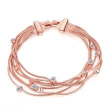 Art und Weise umweltfreundliches Rosen-Goldarmband-Kristallform-hängendes Charme-Armband mehrstufiges Frauen-Armband