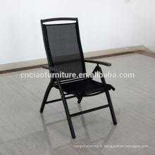 Chaise pliante extérieure de nouvelle maille d'arrivée avec le bras en bois de teck