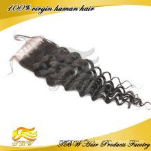 Оптовая дешевой цене 100% человеческих волос бесплатный прощание кружева закрытие
