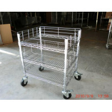 Adjustable Chrome Metal Push Trolley for Workshop and Factory