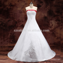 2017 beads satin long train wedding dress with real pictures