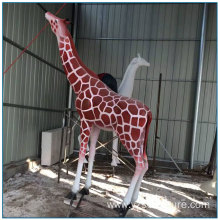 Outdoor Park Decoration Life Size Fiberglass Giraffe Statue