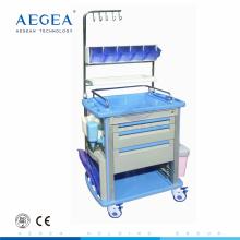 AG-NT003A1 Avec des crochets de perfusion 3 tiroirs infirmiers travaillant mobile chariot de l'hôpital chariot médical