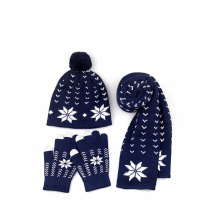 Factory supply woolen yarn winter women custom Warm Thick Cable Winter Set Knitted Hat Scarf & Gloves