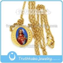 Bijoux Religieux À La Mode Or Saint Coeur De Jésus Médaille Lien Chaîne En Gros Christ 316 En Acier Inoxydable Collier