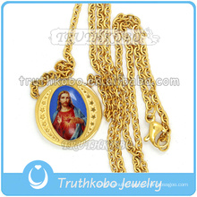 Trendy Religious Jewelry Gold Holy Heart of Jesus Medal Link Chain Wholesale Christ 316 Stainless Steel Necklace