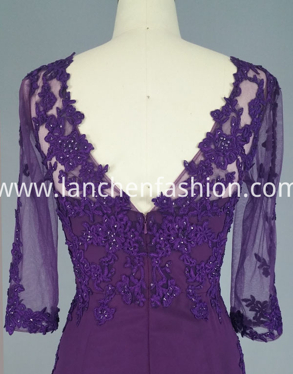 dress purple back detail