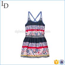 Floral e listra bebê meninas vestido flor praia / vestido casual para férias
