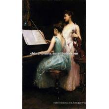 Niñas jugar piano pintura al óleo