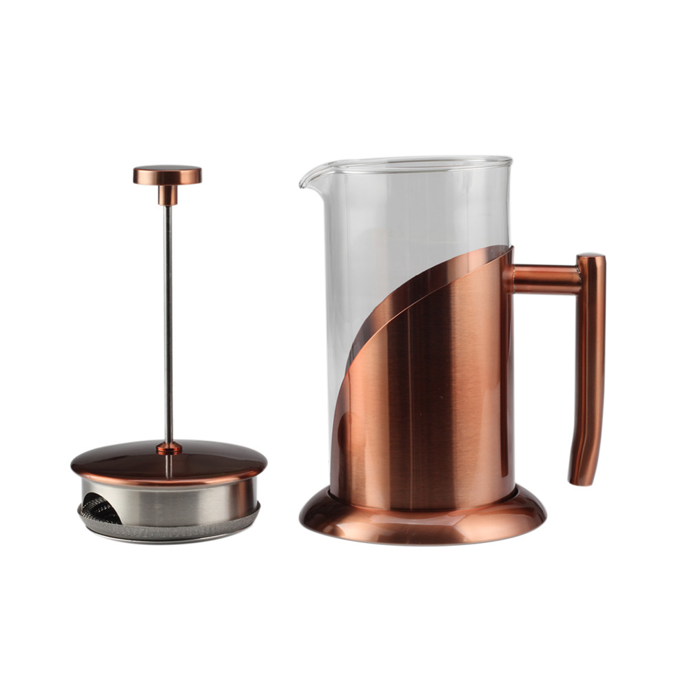 Copper Frame Glass Tea Pot