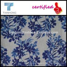 цветов и листьев на протяжении печати Лен хлопок поплин ткать легкий вес ткани для одежды