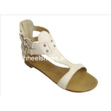 White Flat Ladies Sandal Shoes (Hcy02-471)
