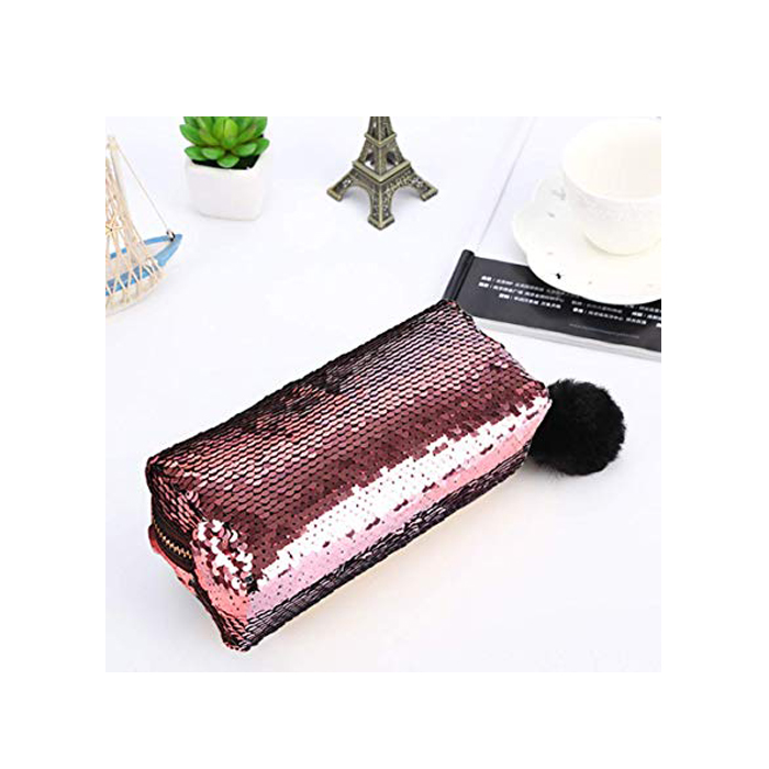 Sequin Pink And Gold Pencil Case 4