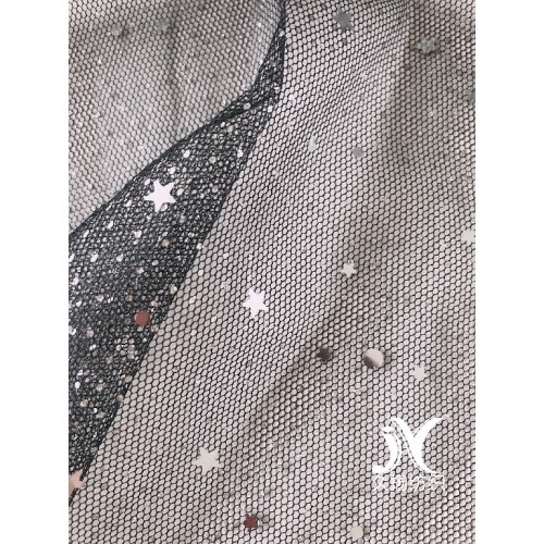 Zilverfolie Star Sequin Mesh Fabric