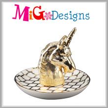 Elegant Animal Shaped Ceramic Ring Holder with Electroplating