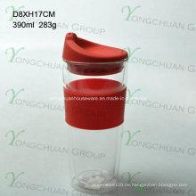 American Fashionable Erstklassige Qualität Food Grade Doppelwand Glas mit Deckel BPA frei