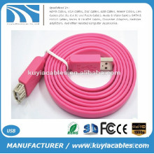 Vente d'usine Plat USB am to af Câble de rallonge USB 2.0 Rouge Bleu Noir Blanc Rose Violet
