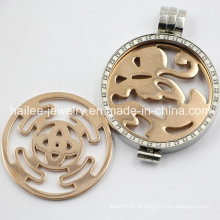 Moda prata Locket desenhos aço inoxidável cristal flutuante charme Locket pingente