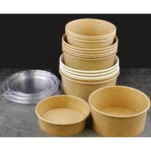 Пользовательский печатный логотип 750 мл 900 мл 1000 мл одноразовая бумажная чашка для салата, рисовой лапши и рисовой лапши