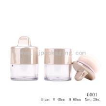 Elegante de oro de embalaje de cosméticos de polvo puff contenedor de encargo frasco de polvo suelto con puff contenedor de polvo suelto con sifter