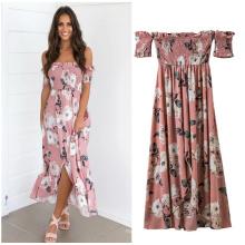 Mode Dame Frauen Maxi Kleid billig rosa gedruckt floral smart Maxi Casual Kleider