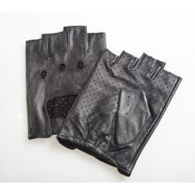 Couro de pele de cabra sem dedos moda masculina condução luvas desportivas (yky5204-2)