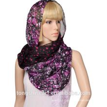 2016 леди двойной слой печатных полиэстер вуаль бесконечности шарф петли шарф с нестандартной конструкцией