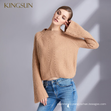 Lady Styles Camel Wool Cashmere Sweater Speaker Sleeves Pullover