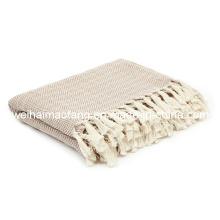 100%Pure Cotton Throw with Herringbone Weave/Organic Cotton Throw