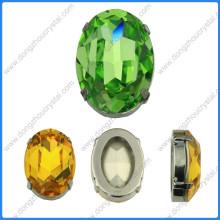 Perles de pierres ovales avec paramètres de griffe