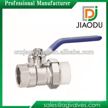 1/2 3/4 1 inch DN15 DN20 DN25 manual forged nickel plated female threaded brass single union ppr plastic insert brass ball valve