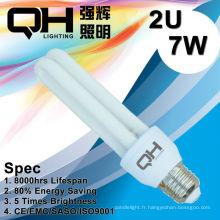 2U 7W éconergétiques lumière/CFL lumière/sauver Light/Economie énergie E27 lumière 6500K