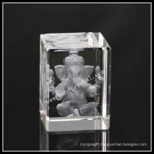 3D Laser Crystal Engraving Ganesha Statue Religious Souvenir Gift 3 Inch Tall (ND-1010)