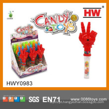 Brinquedos de plástico engraçado mão com Soft Candy armas Toy itens promocionais 2015 (12pcs / caixa de exibição)
