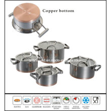 Copper Bottom Stainless Steel Casserole Saucepot Set Sc594