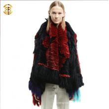 Китайские производители одежды Мода Женщины Custom Rabbit Fur Трикотажное пальто для женщин