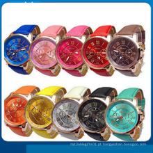 Nova moda rodada 2 zonas senhoras relógio de couro barato